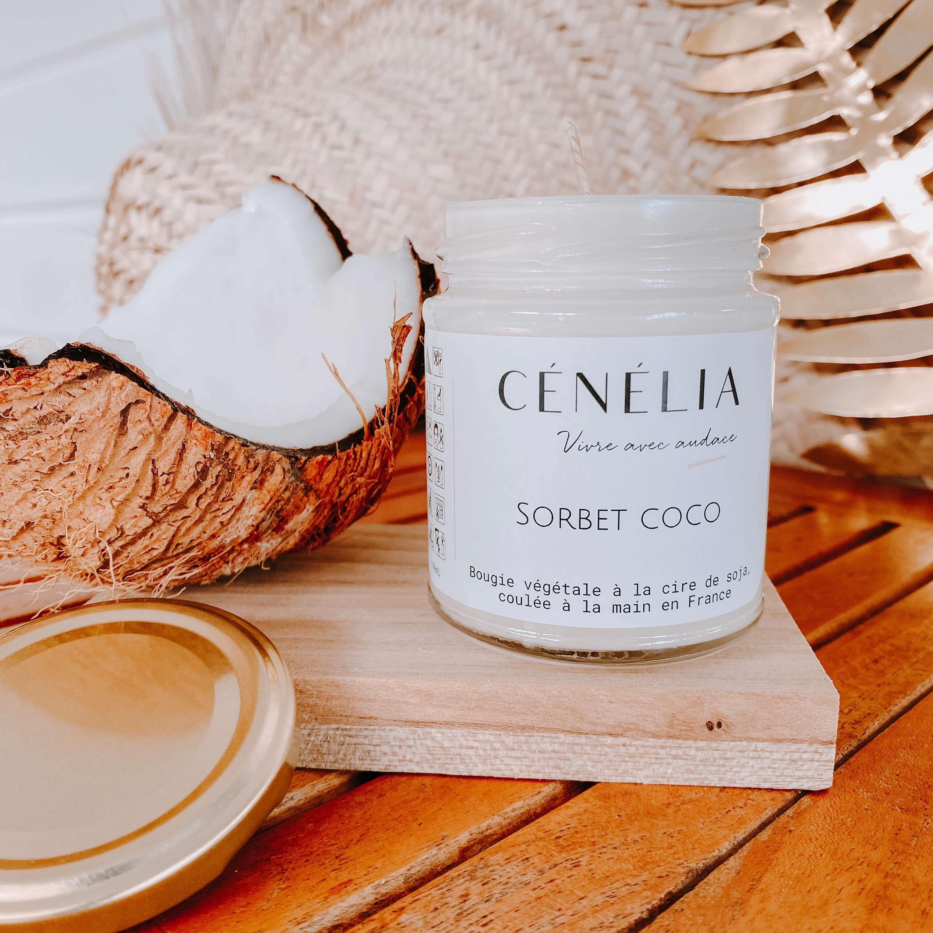 bougie naturelle et parfumée à la noix de coco - Cénélia
