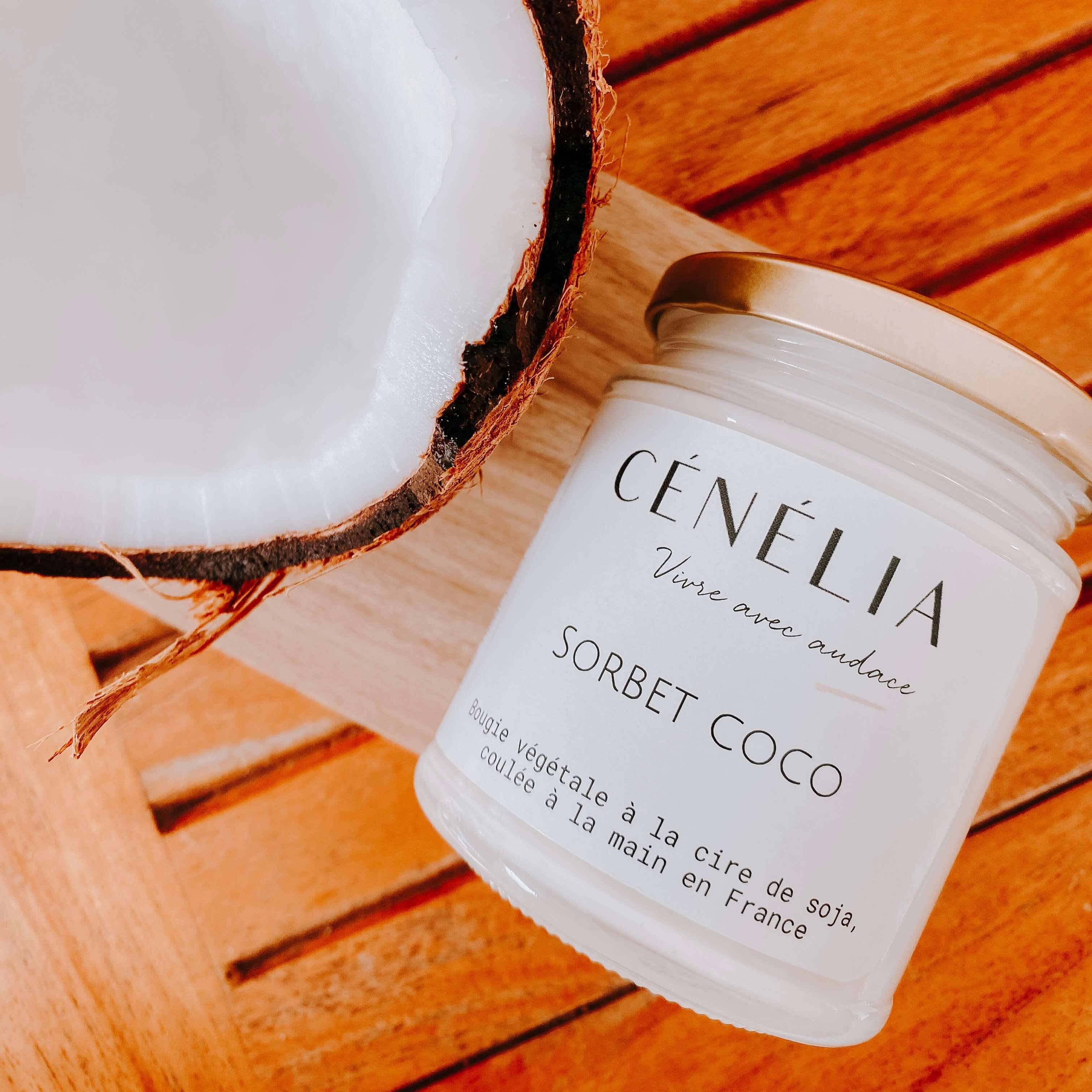 bougie naturelle et parfumée au coco - Cénélia
