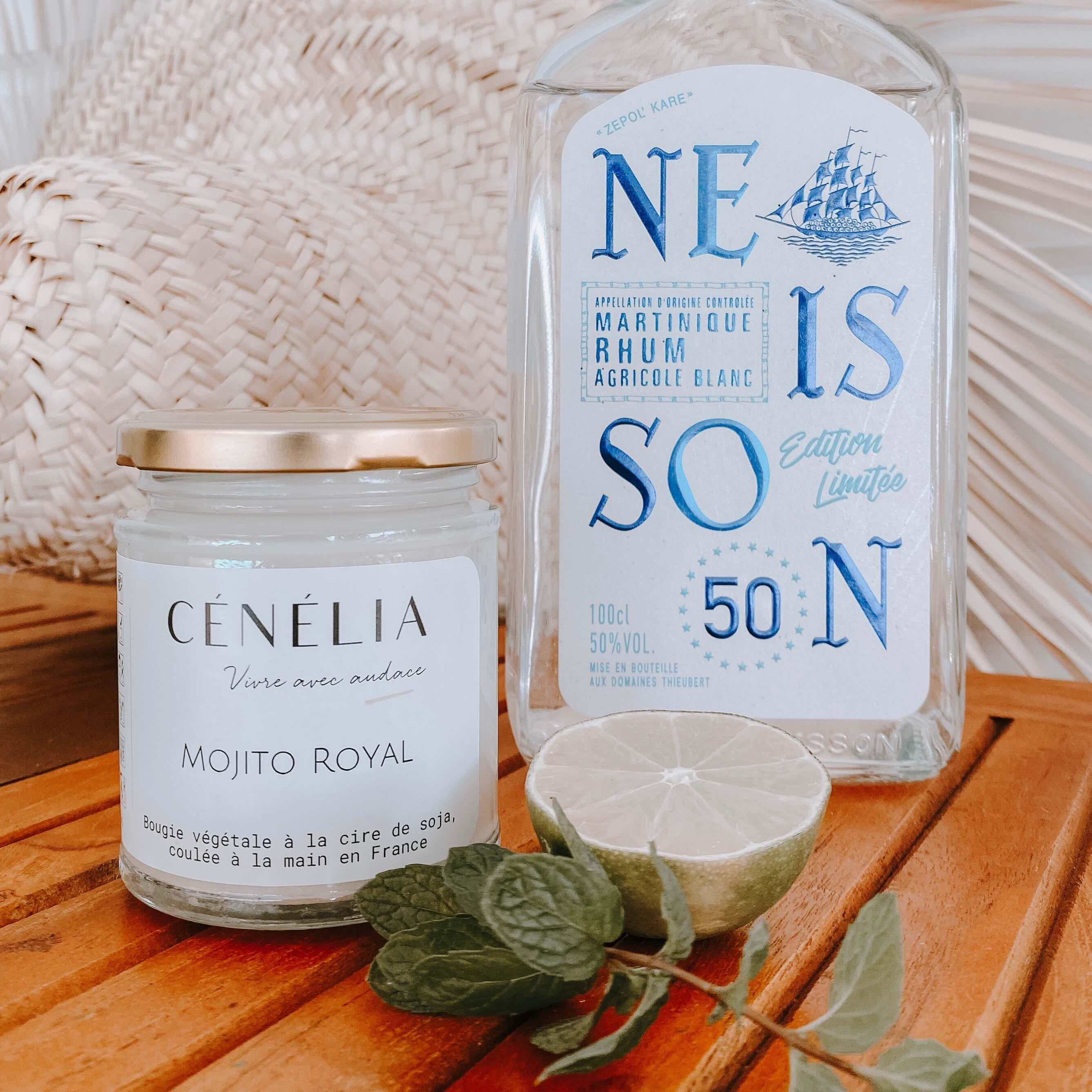 bougie tropicale Mojito Royal - Bougie naturelle parfumée Cénélia