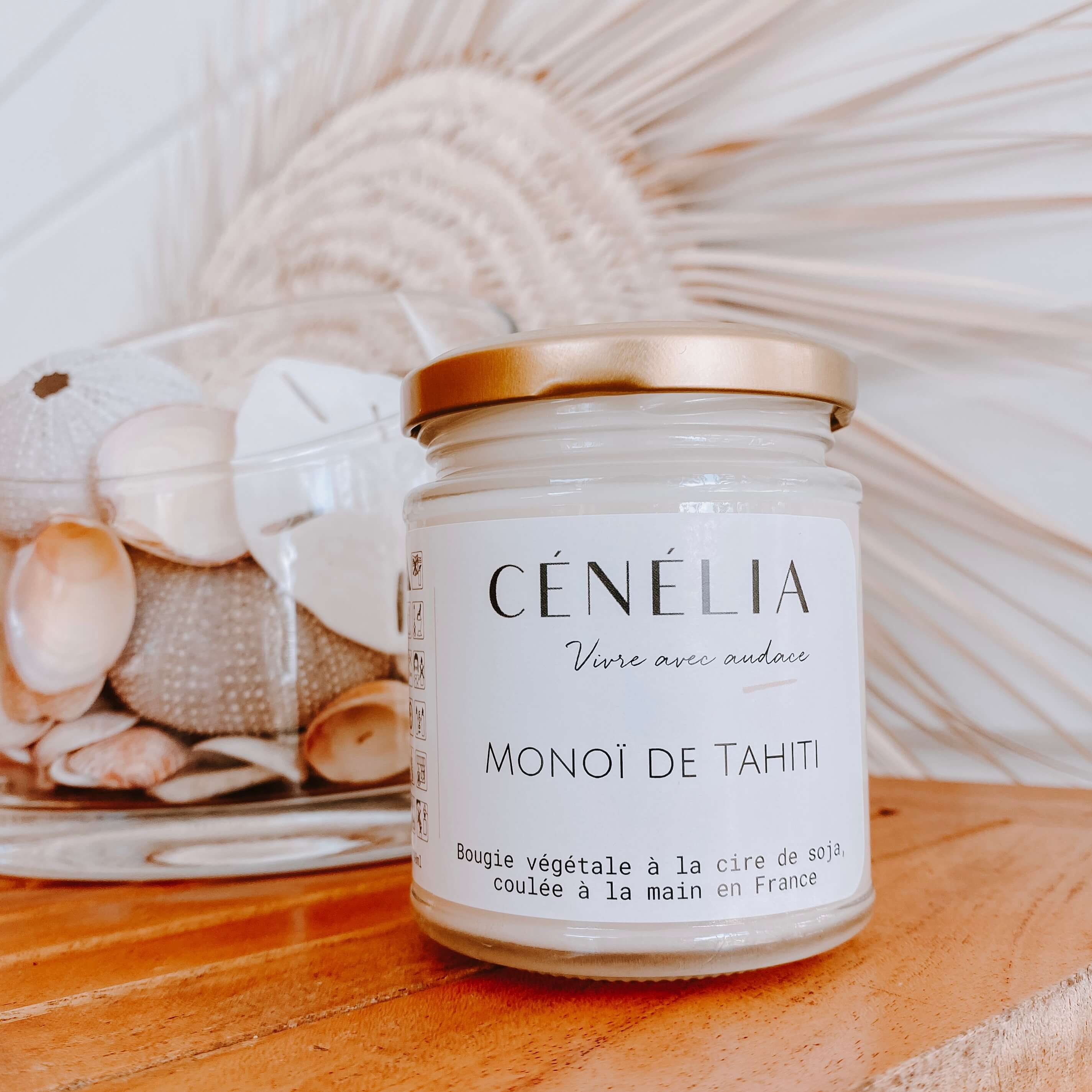 bougie vegan au monoï - bougie naturelle parfum monoï Cénélia