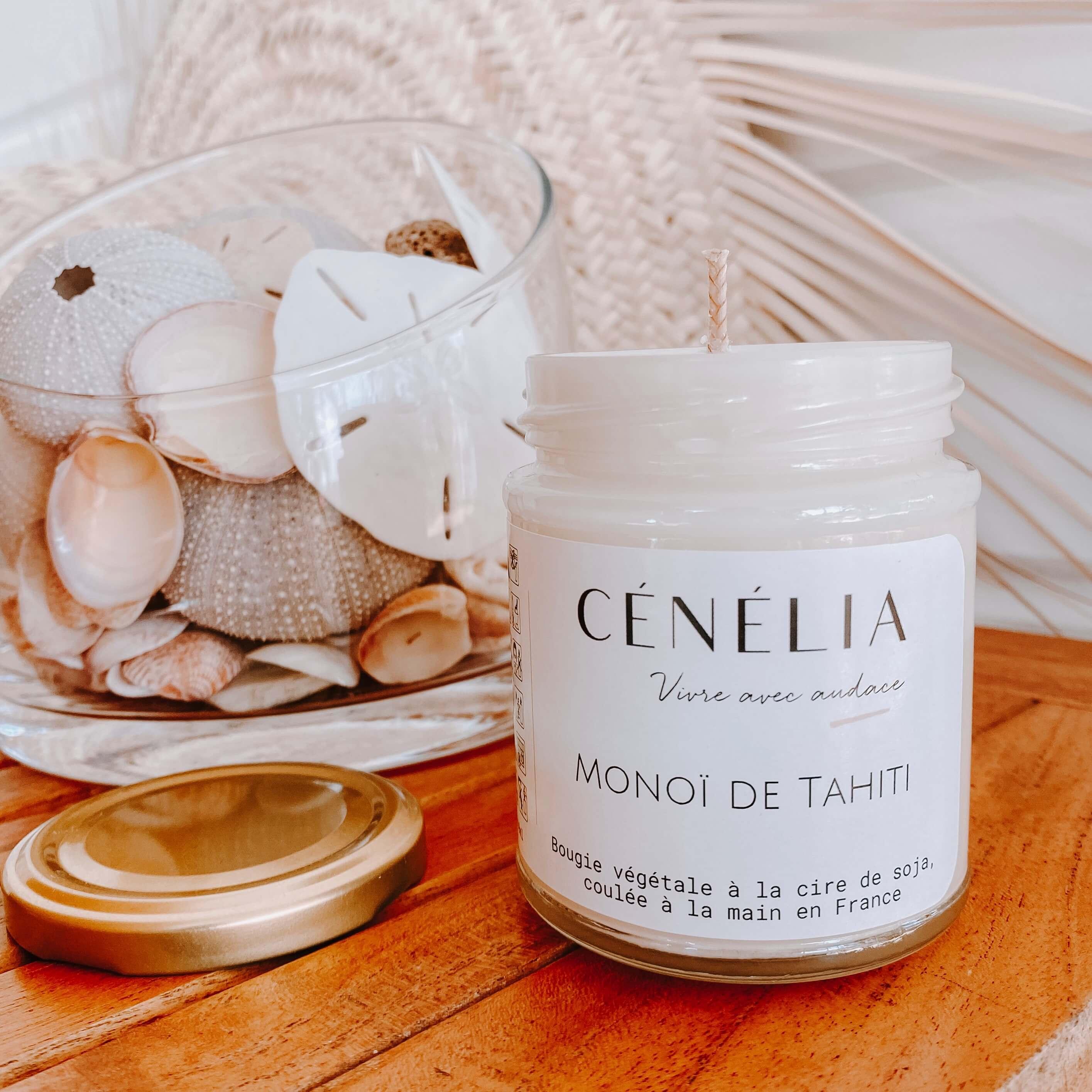 bougie vegan au monoï - bougie naturelle parfum monoï - Cénélia