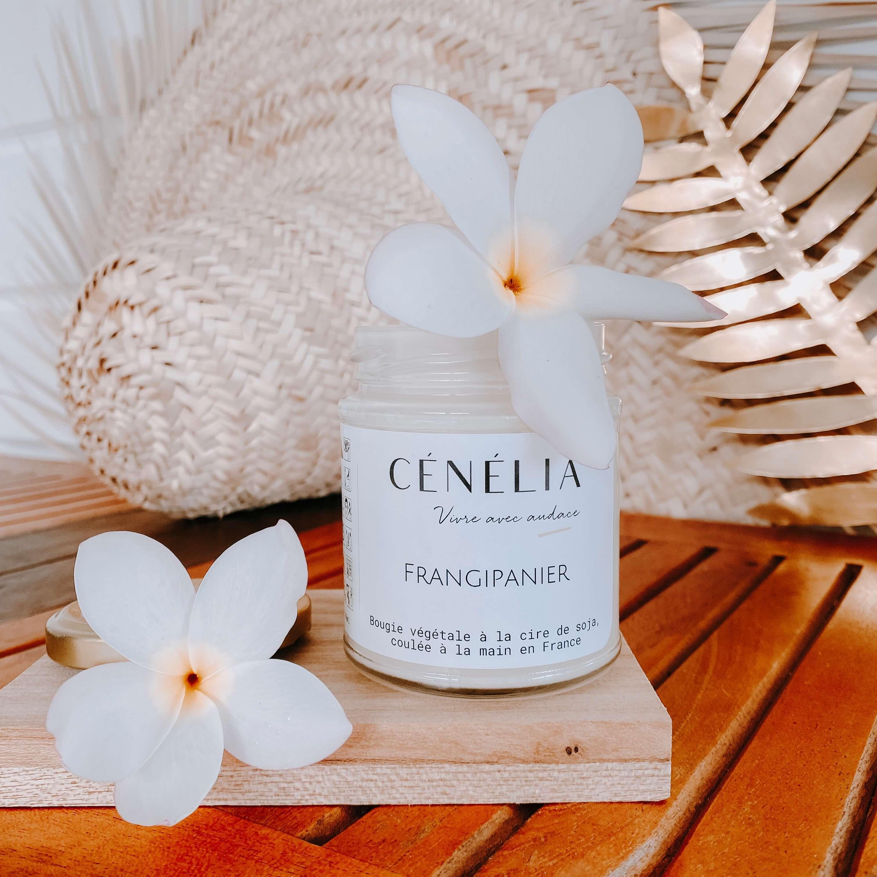 bougie végétale à la fleur de frangipanier - Bougie tropicales - Cénélia