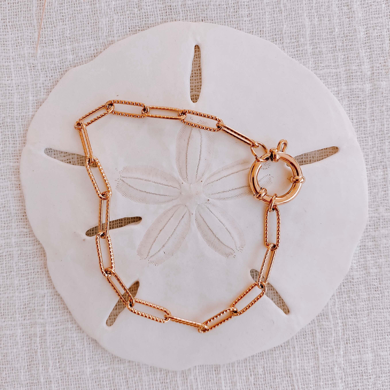 bracelet chaine Tarah - Bracelet gros fermoir rond Cénélia