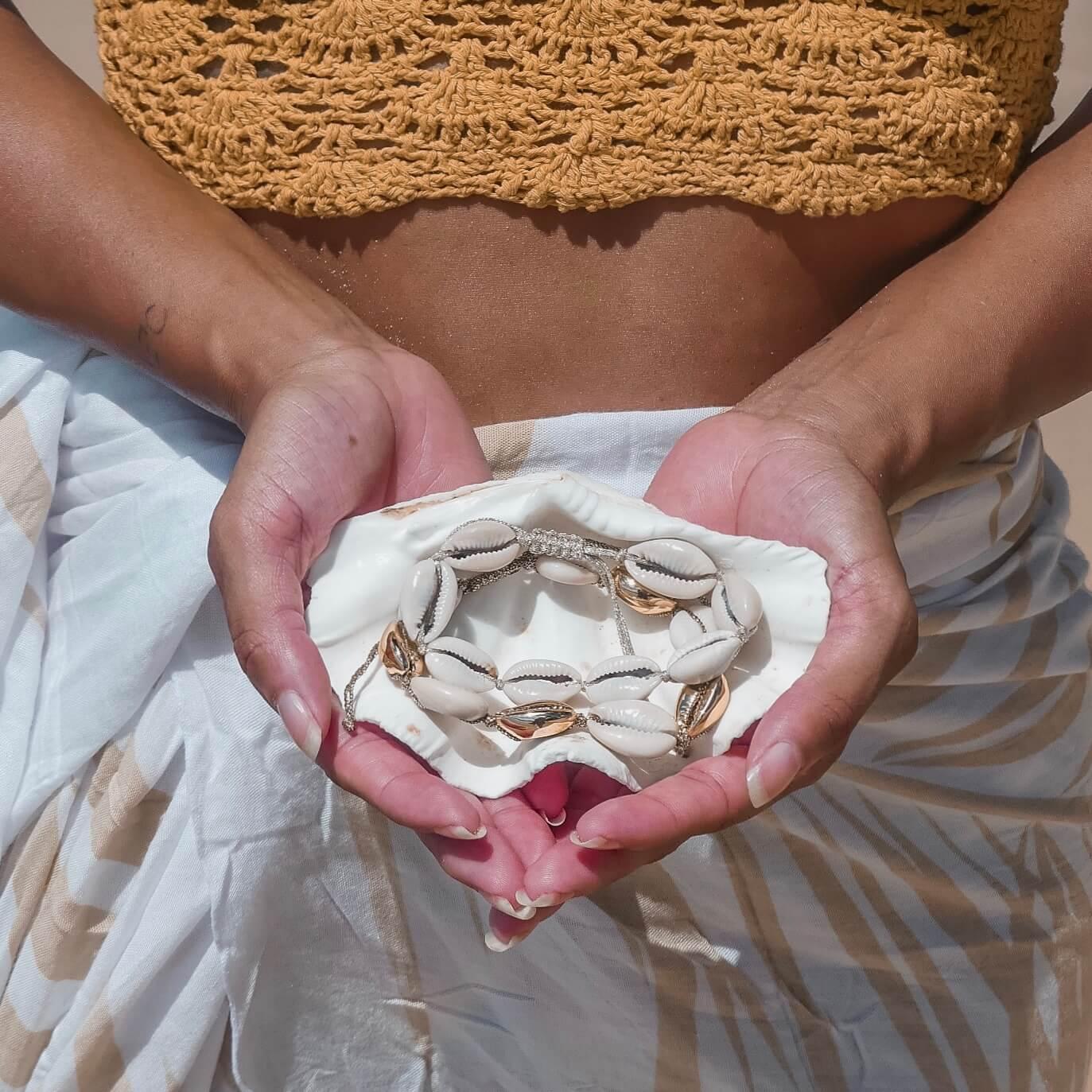 bracelet coquillages - bracelet de plage ¬ bijou de cheville plage - Cénélia - Alice