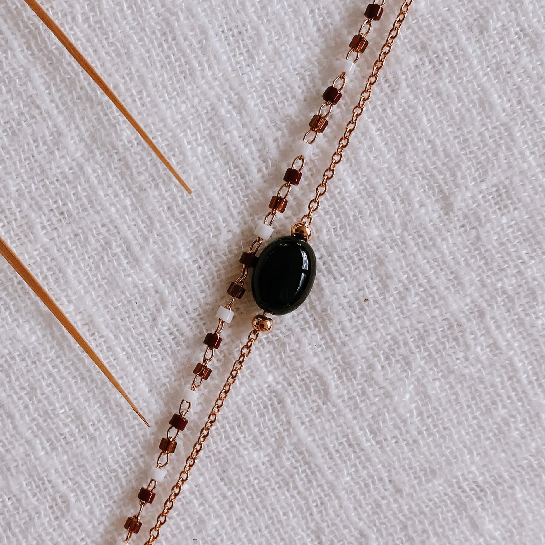 bracelet double chaîne Gigi noire pierre naturelle agate noire - Cénélia