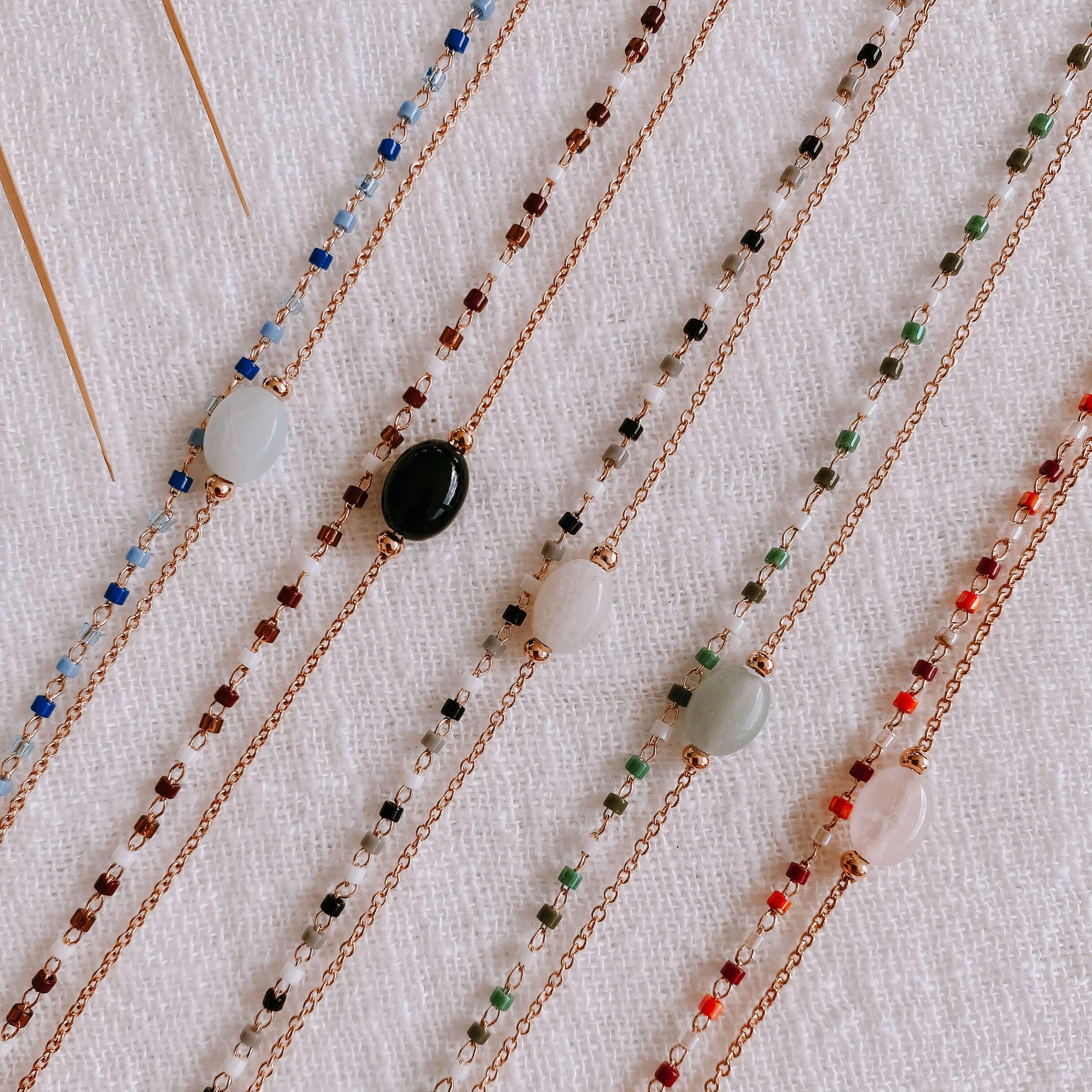 bracelet double chaîne Gigi pierres naturelles - Cénélia