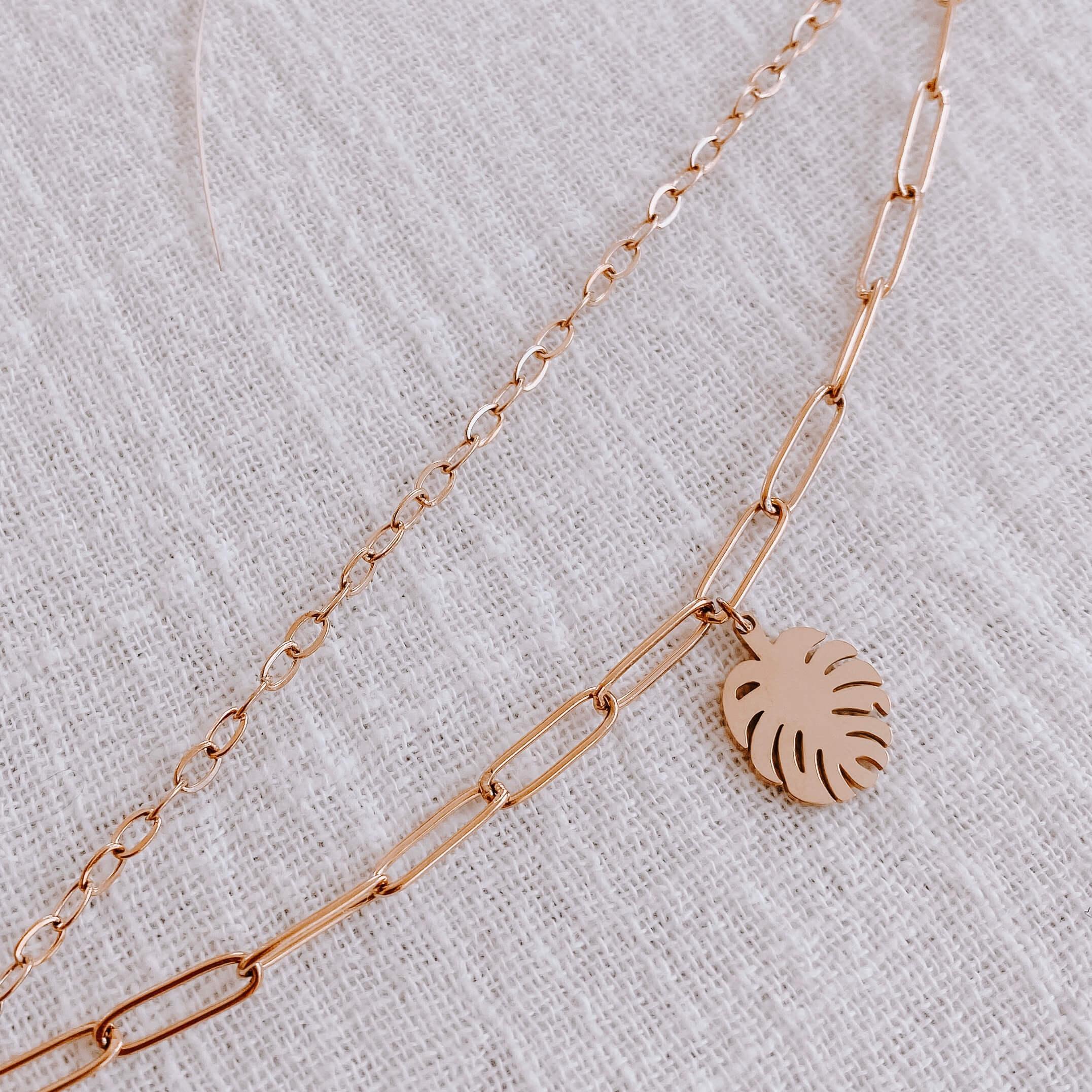 bracelet feuille de monstera - Bracelet double Cénélia - Linda