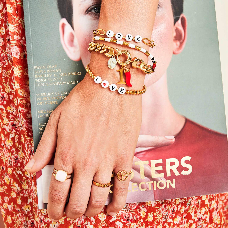 bracelet perles lettres - bracelet chaine message - Cénélia - Nell