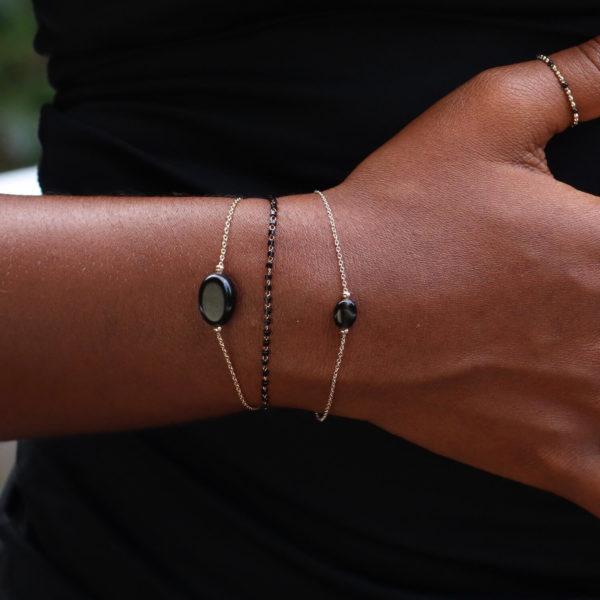 bracelet petite pierre naturelle agate noire - Cénélia Martinique