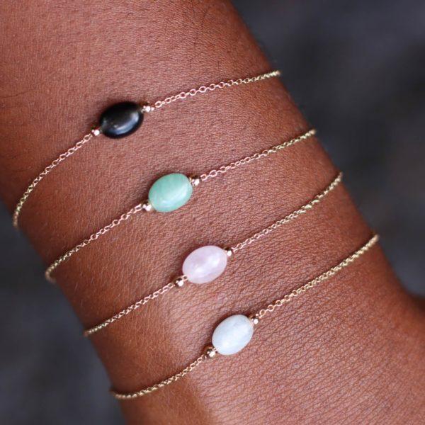 bracelet petite pierre naturelle - boutique de bijoux plaqué or Cénélia Martinique