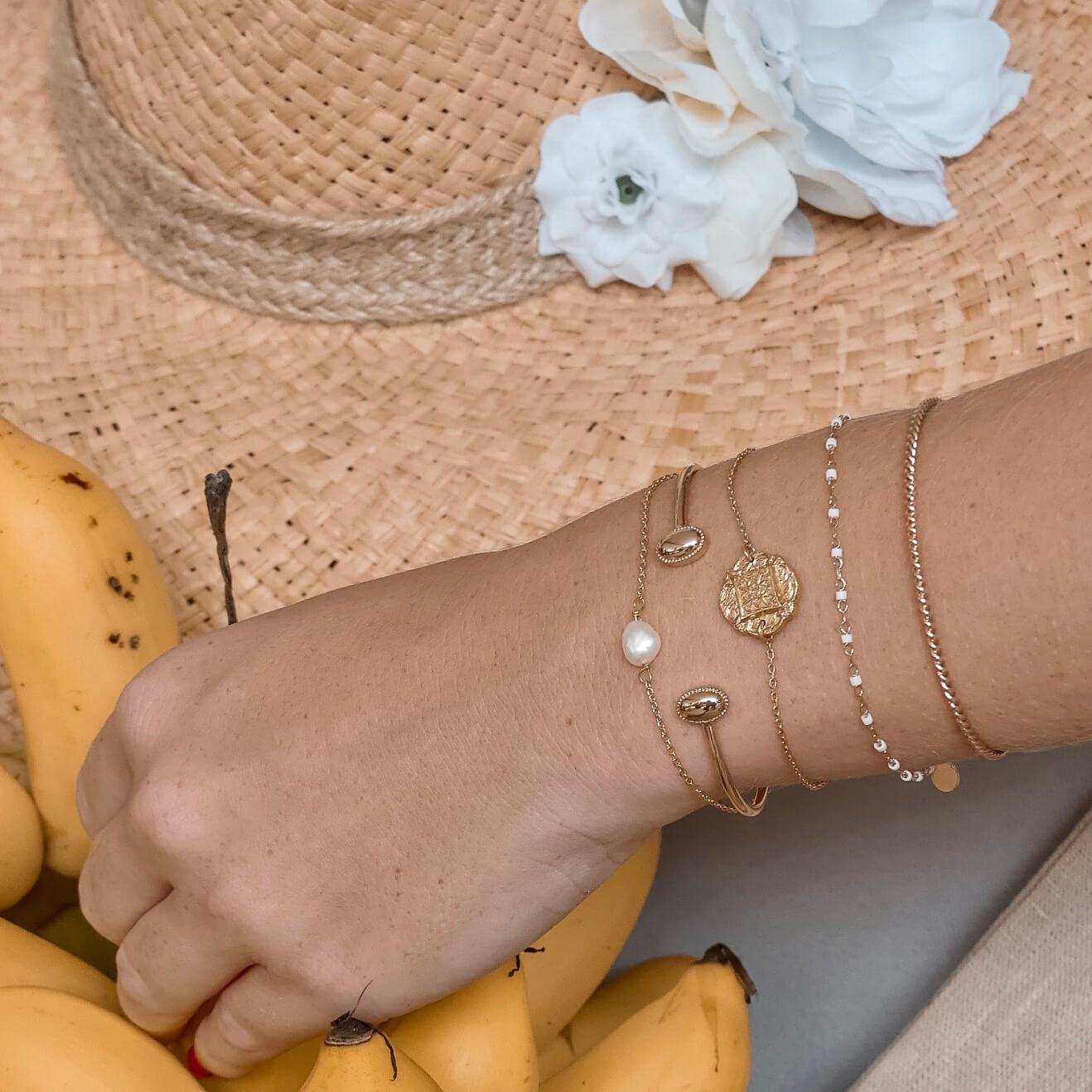 bracelet petites perles miyuki blanc - bracelet perles blanches - Jana - Cénélia