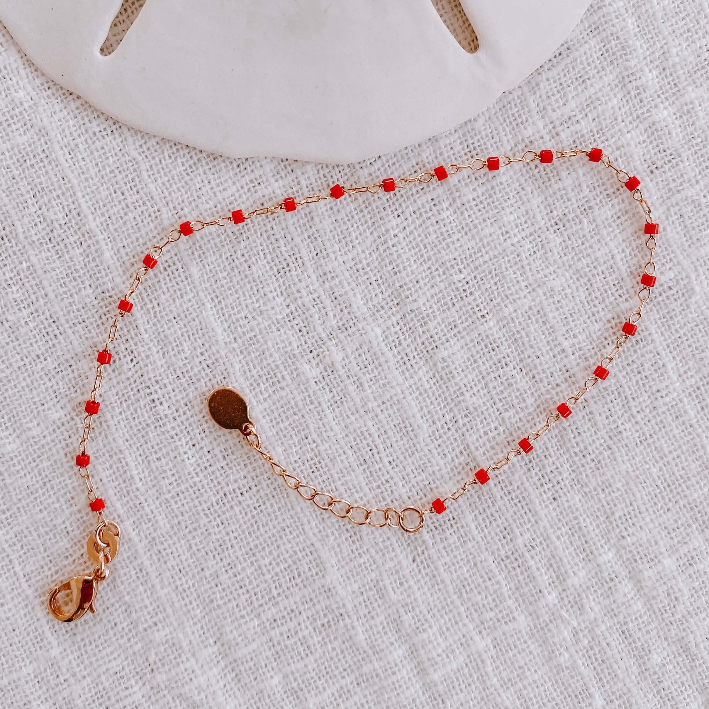 bracelet petites perles miyuki - bracelet perles rouges Cénélia - Jana
