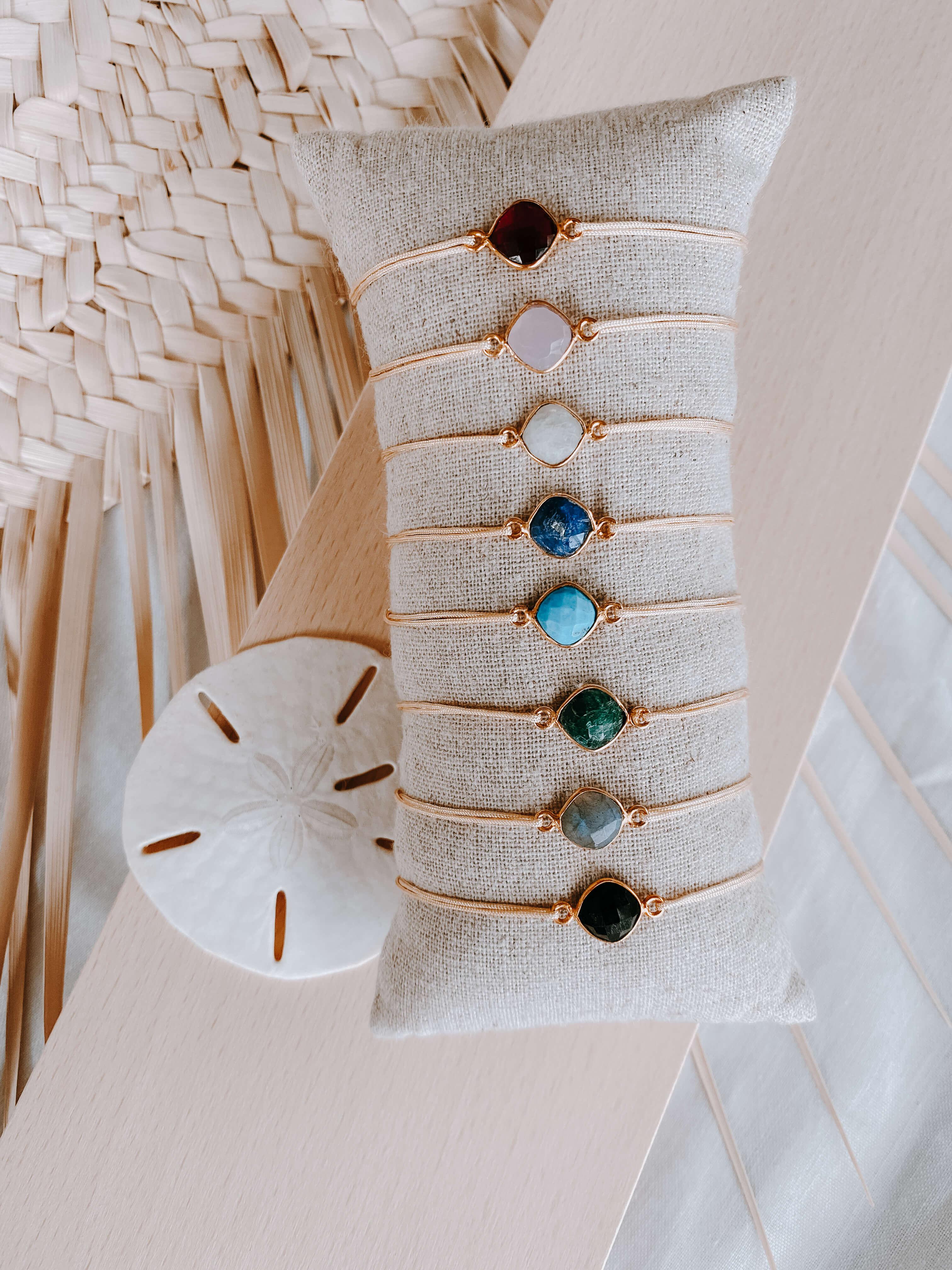 bracelet pierre sur cordon - bracelet femme réglable - Cénélia - Color stone