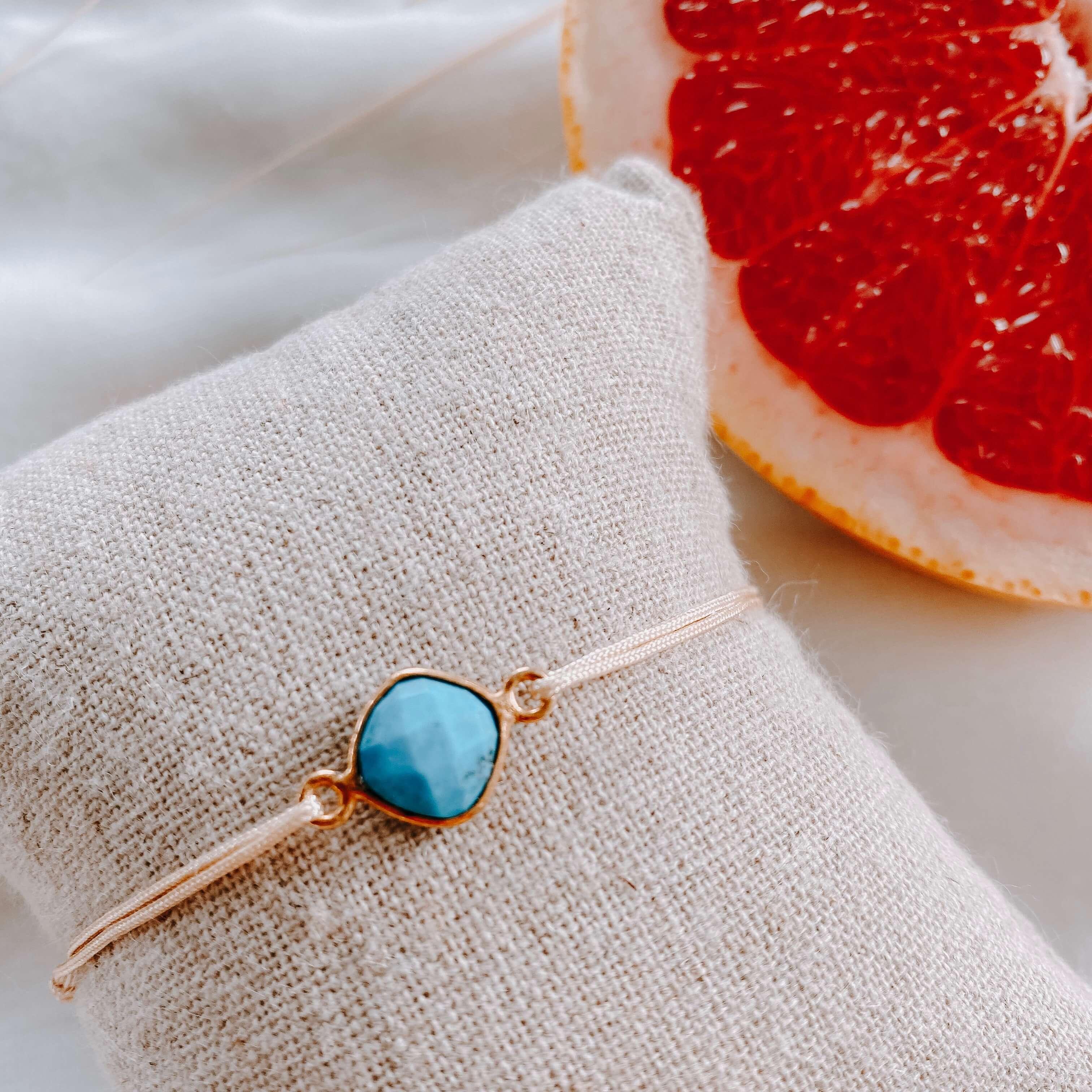 bracelet pierre sur cordon - turquoise - Cénélia