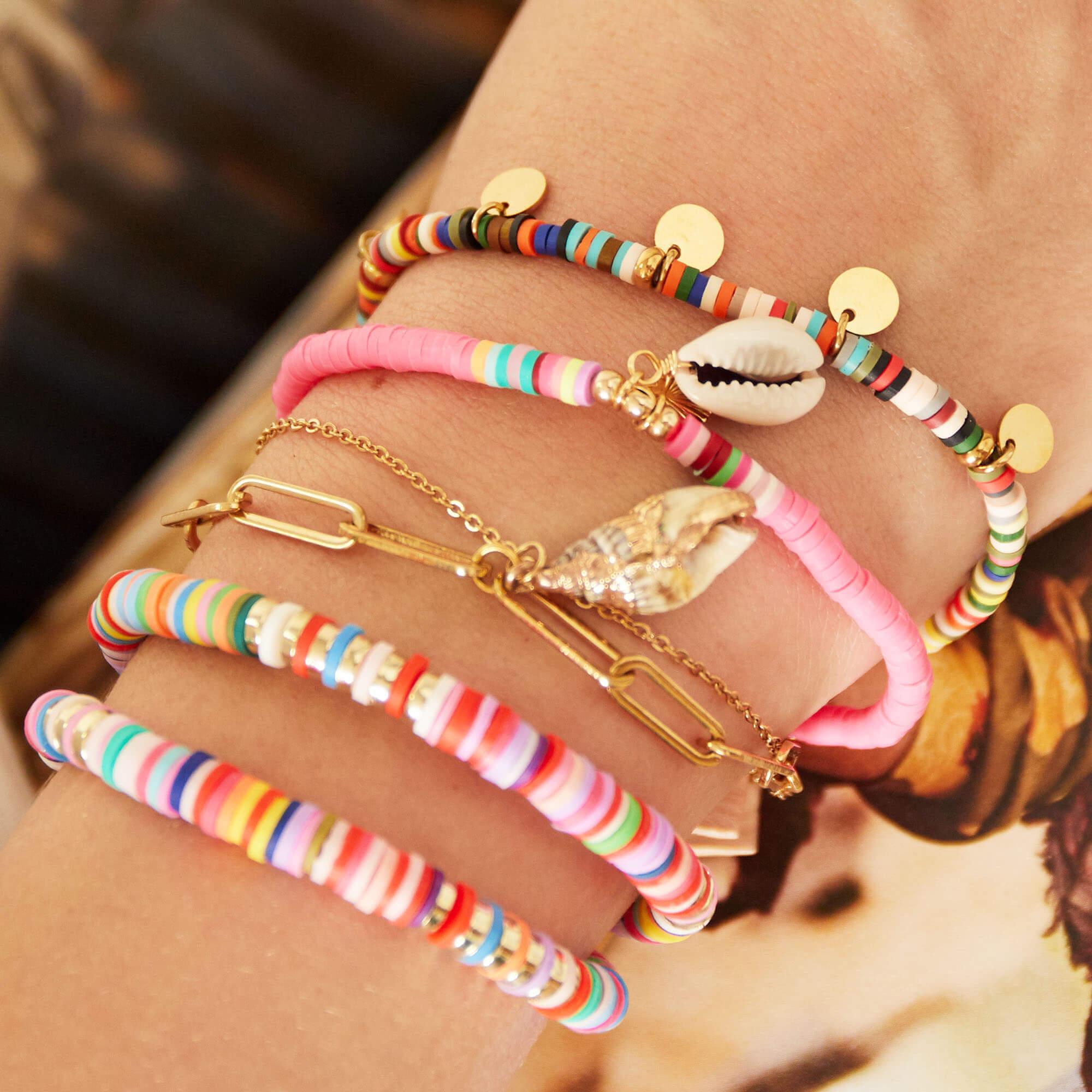 bracelets perles heishi - bracelet heishi - Moana - Cénélia - bracelet coquillage