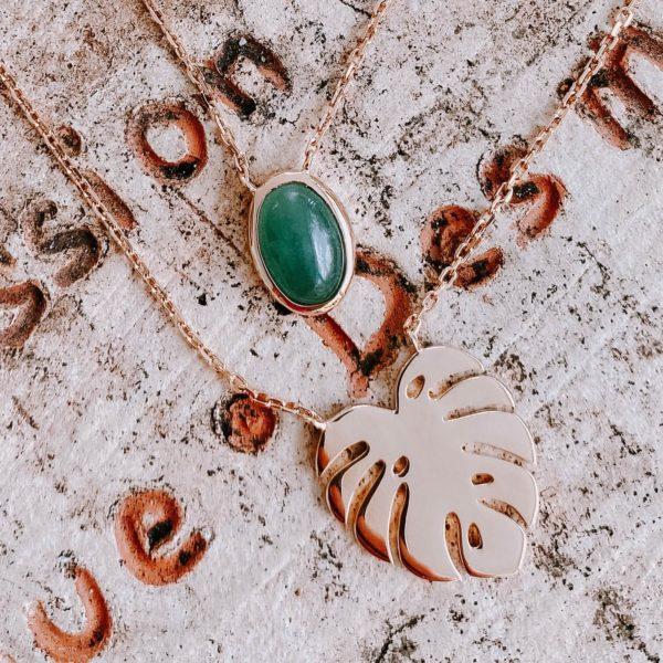 collier double Morne vert - collier feuille de monstera - Cénélia