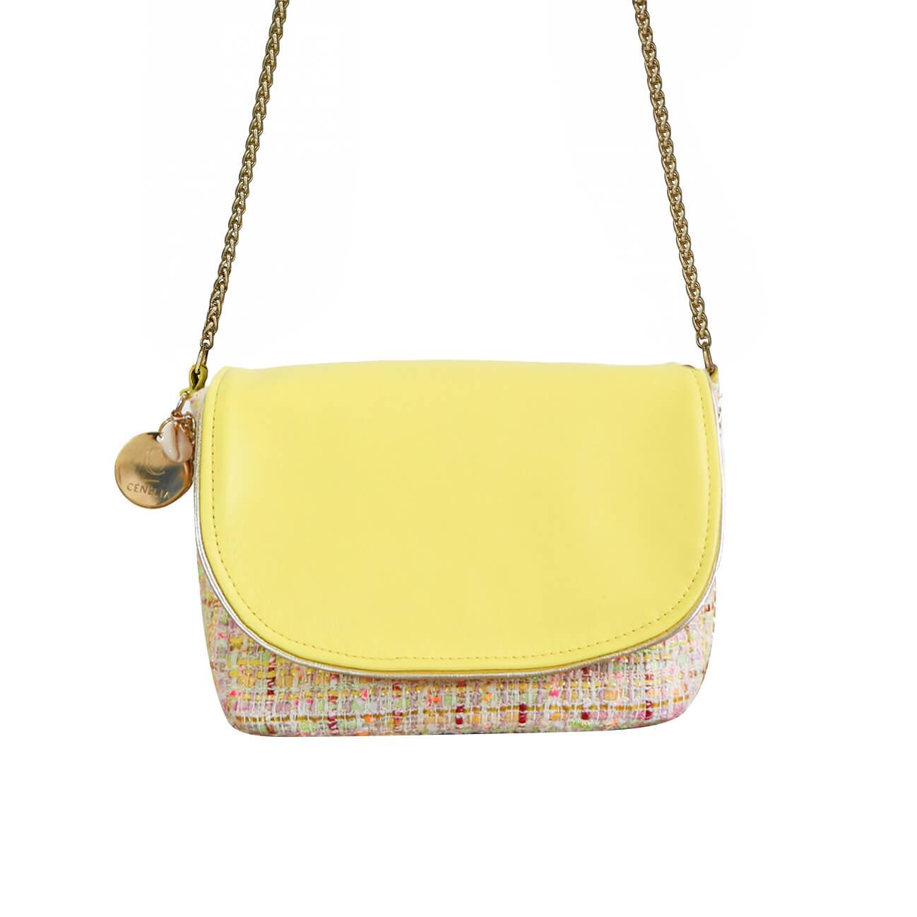 petit sac en tweed et cuir jaune Chloé - Cénélia