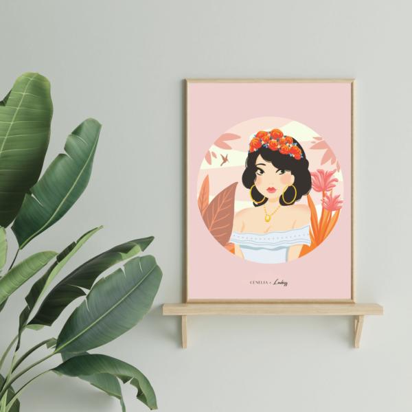 poster décoration tropicale | affiche portait femme rose | Cénélia x Loubizz | Marie