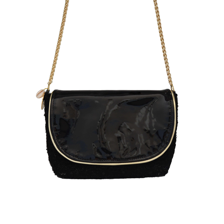sac à main noir - sac en cuir vernis et tweed Haute Couture - Marianne by Cénélia