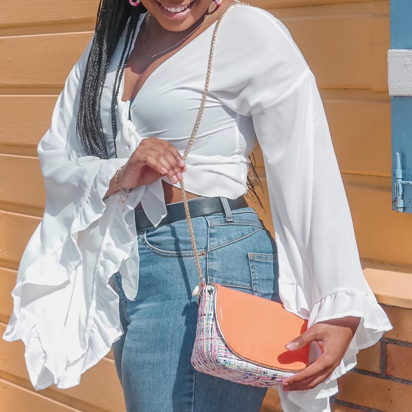 sac mode en tweed - sac bandoulière chic coloré Cénélia
