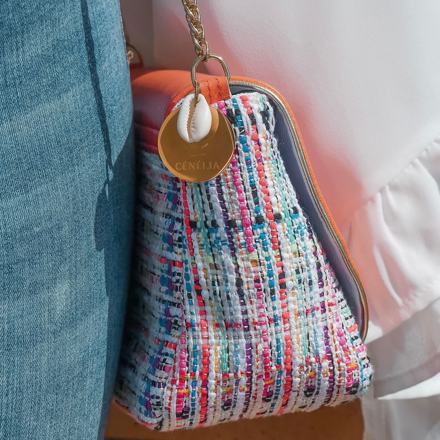 sac mode en tweed - sac femme bandoulière chaine Cénélia