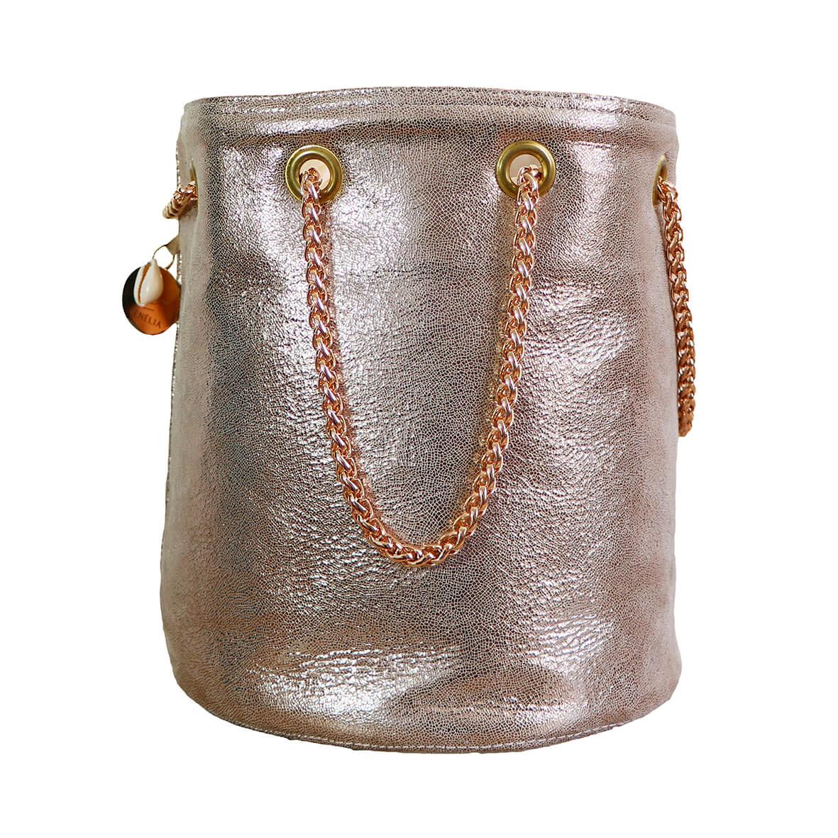 sac seau doré - sac rond mode femme fait en France - Romy - Cénélia
