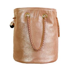 sac seau en cuir rose - sac rond mode femme fait en France - Lola - Cénélia