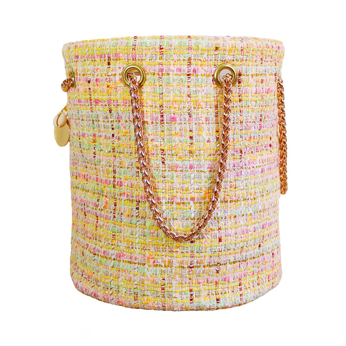 sac seau en tweed et cuir - sac rond mode femme fait en France - Chloé - Cénélia