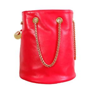 sac seau rose cuir - sac rond mode femme fait en France - Nina - Cénélia