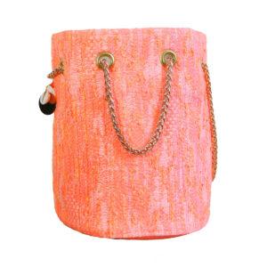 sac seau tweed coloré - sac rond mode femme fait en France - Lucie - Cénélia